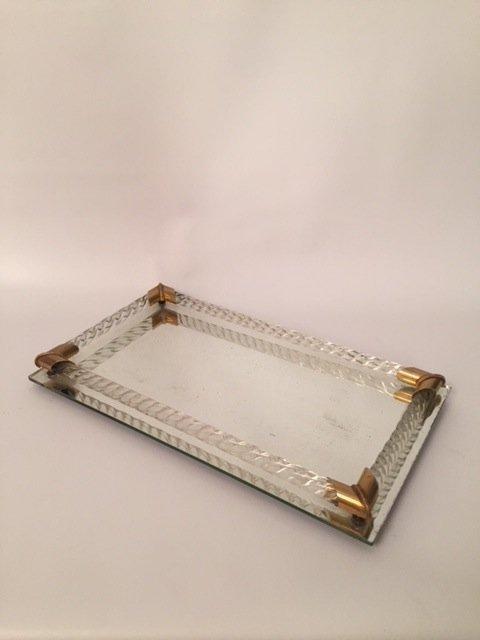 Art Deco glass mirror Tray