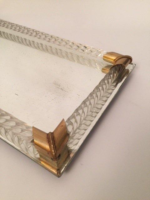 Art Deco glass mirror Tray - 5