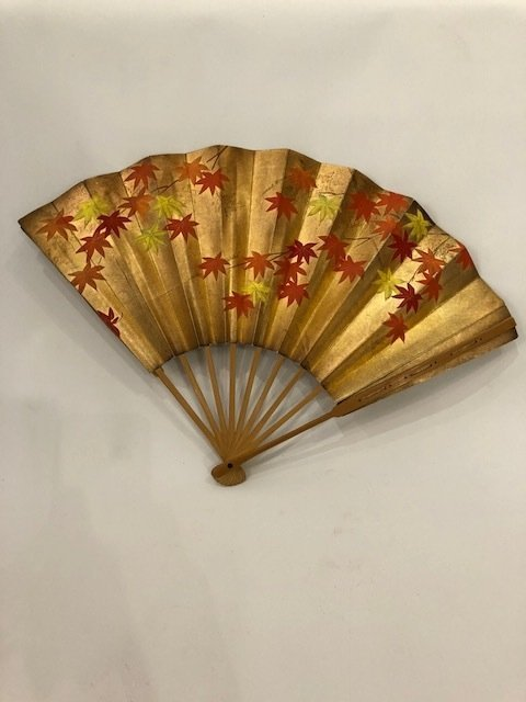 Antique gold painted Asian Fan