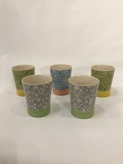 Set of 5 ceramic painted low drinking glasses