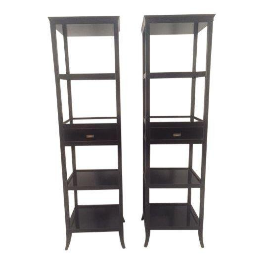 Modern Wood Black Lacquered Etagere Shelves - A Pair