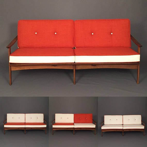 MID CENTURY RESTORED DANISH SOFA