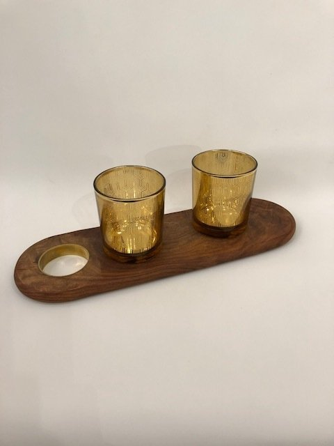 wood and brass serving tray with pair of glasses