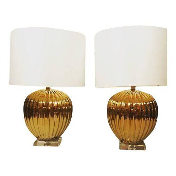 Hollywood Regency Ceramic Gold Table Lamps  A Pair