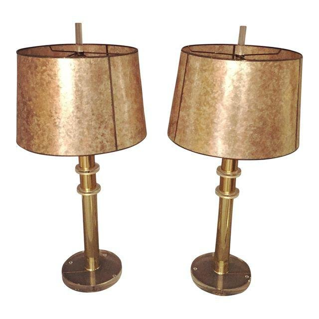 Mid-Century Lucite and Brass Table Lamps - a Pair