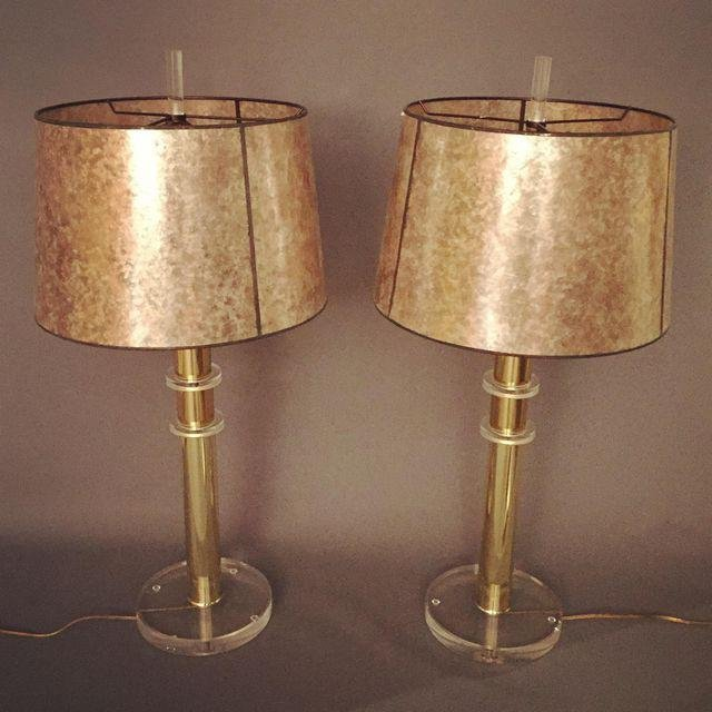Mid-Century Lucite and Brass Table Lamps - a Pair - 2