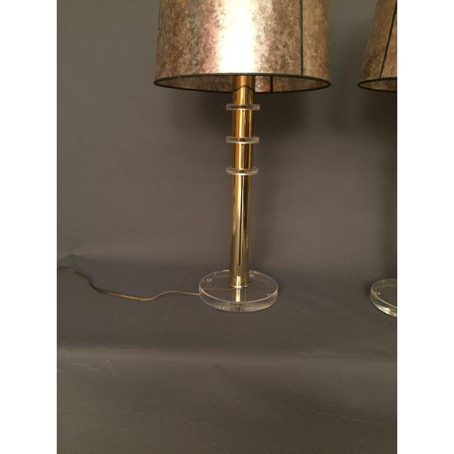 Mid-Century Lucite and Brass Table Lamps - a Pair - 4