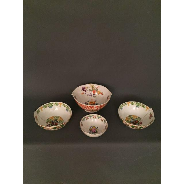 New Italian Porcelain Floral Painter Bowls - Set of 4