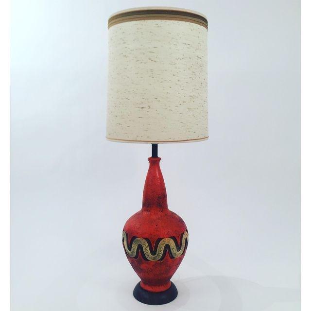 Mid-Century LARGE Hand Made Ceramic Orange Lamp