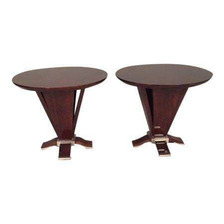 Italian Burl Wood End Tables - A Pair