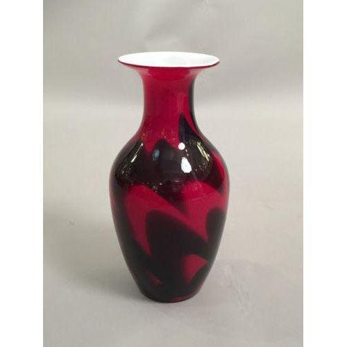 Mid-Century Black & Red Glass Vase - 2