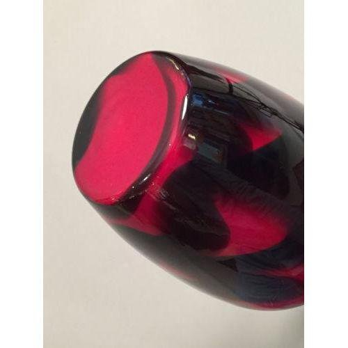 Mid-Century Black & Red Glass Vase - 3