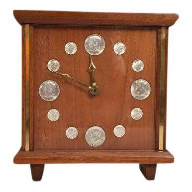 Mid-Century Teak & Brass coins Clock