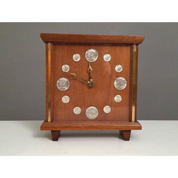 Mid-Century Teak & Brass coins Clock - 2
