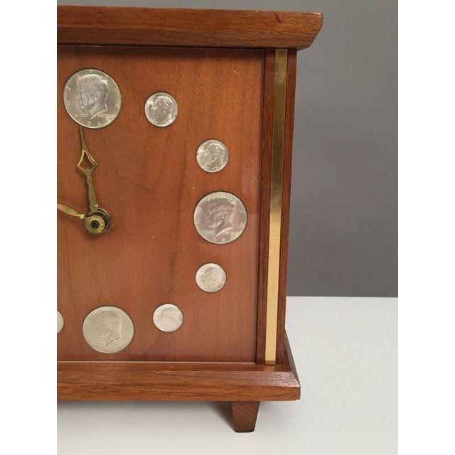 Mid-Century Teak & Brass coins Clock - 3