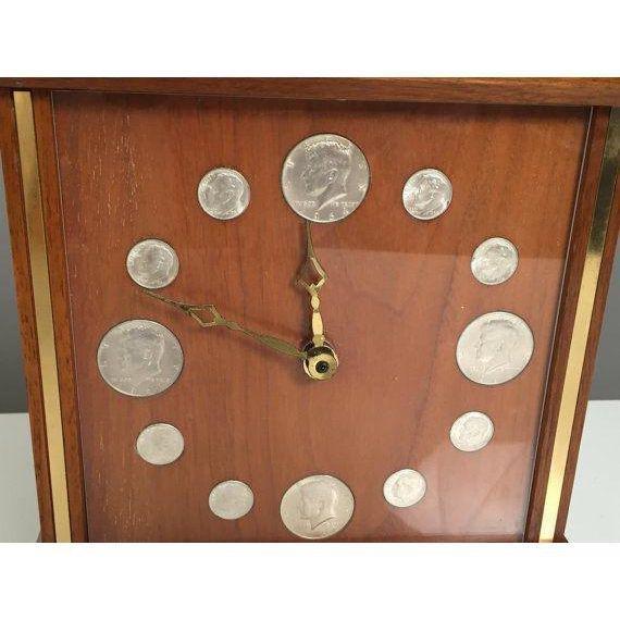 Mid-Century Teak & Brass coins Clock - 5