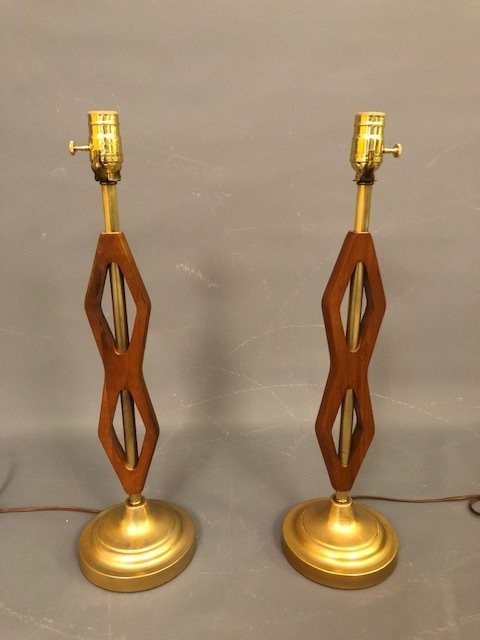 Mid-century RESTORED table lamps walnut and brass