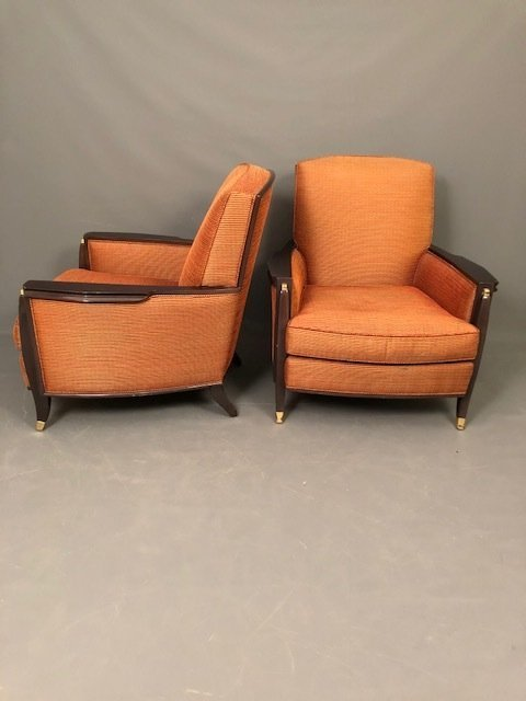 Art Deco style interior craft pair of lounge chairs