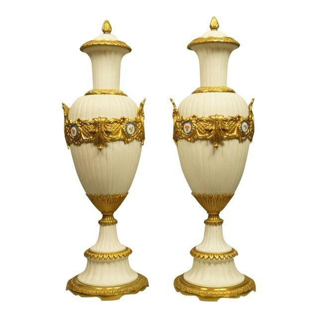 Italian Porcelain Bisque Urns - A Pair