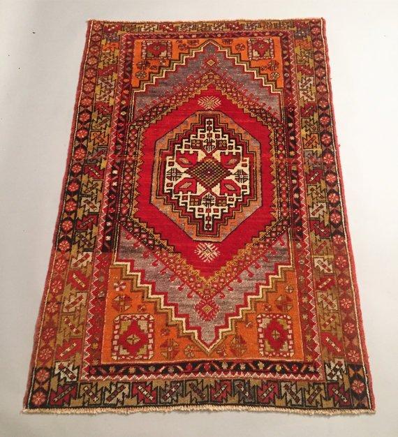 Handmade Turkish vintage rug 4x6