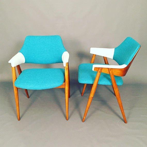 Mid-century Scandinavian lounge chairs pair