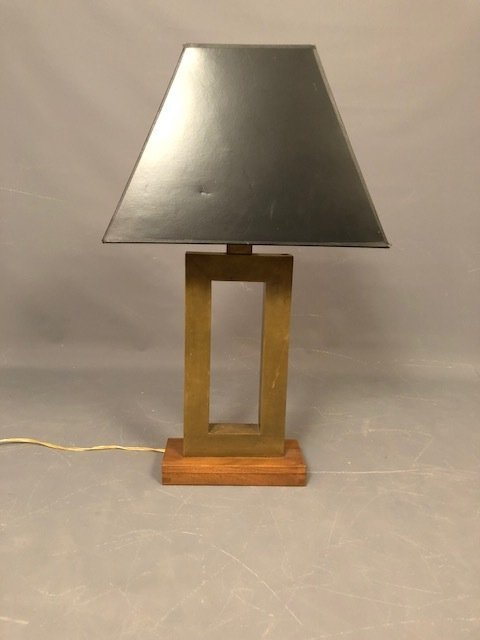 Brutalist Table lamp brass with wood base - 2