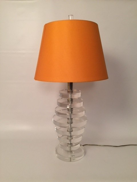 MID CENTURY MODERN Lucite Lamp with orange shade