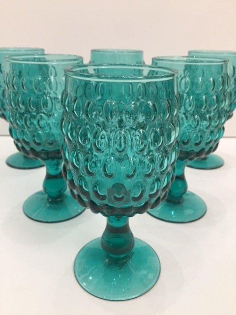 Mid Century Modern Art glass teal goblets