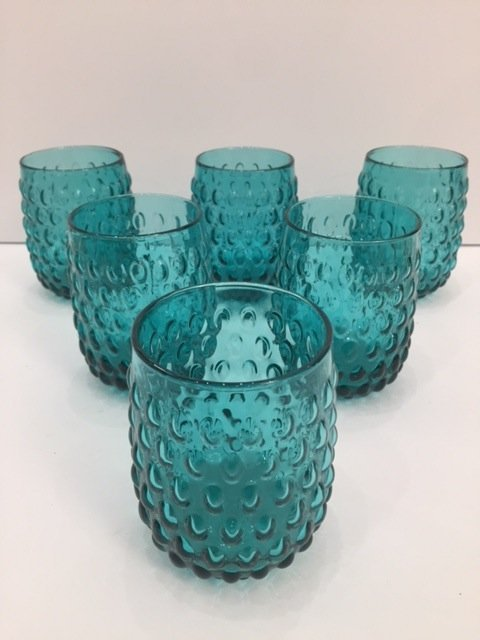 Mid Century Modern Art glass teal low goblets set off 6