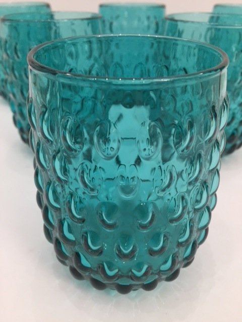 Mid Century Modern Art glass teal low goblets set off 6 - 2