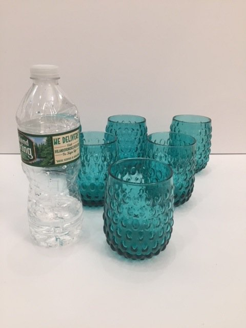 Mid Century Modern Art glass teal low goblets set off 6 - 4
