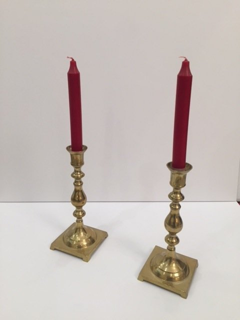 Mid Century pair of Brass candle holder