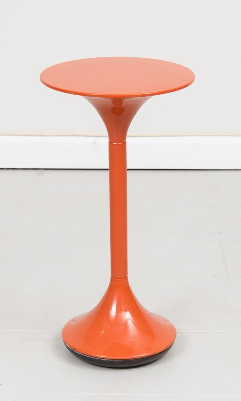Mid Century Modern small Orange Lacquered End Table