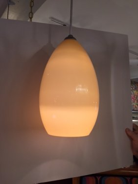 Mid Century handblown Yellow glass pendant light