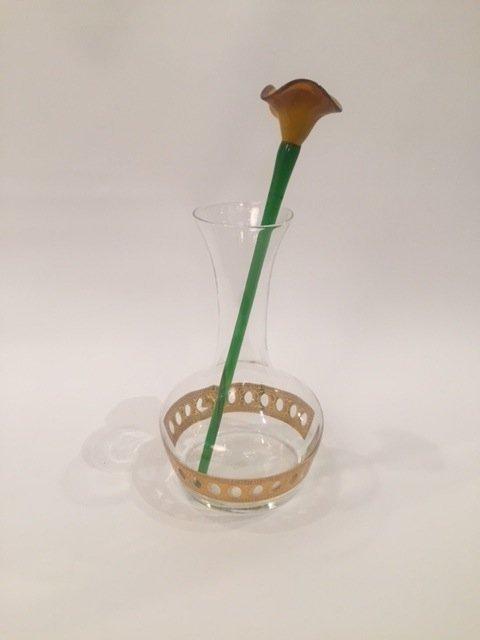 Mid Century Culver LTD Vase with Art glass flower - 5