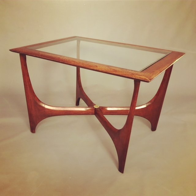 "Mid-Century RESTORED ""LANE"" Coffee Table with Glass"
