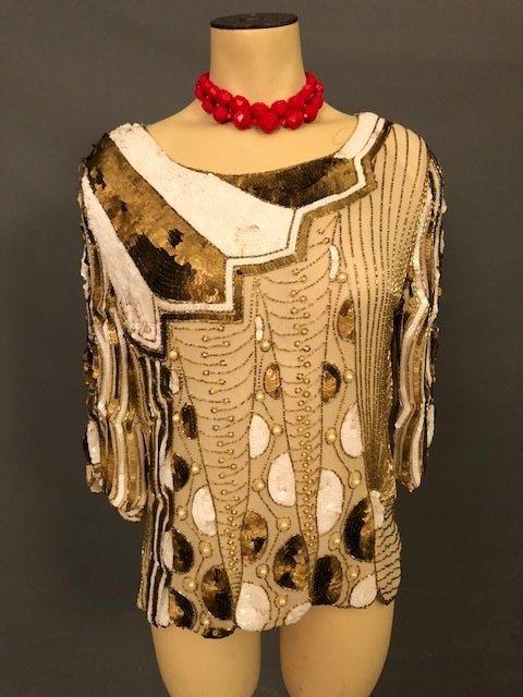 Vintage short sequence beige dress