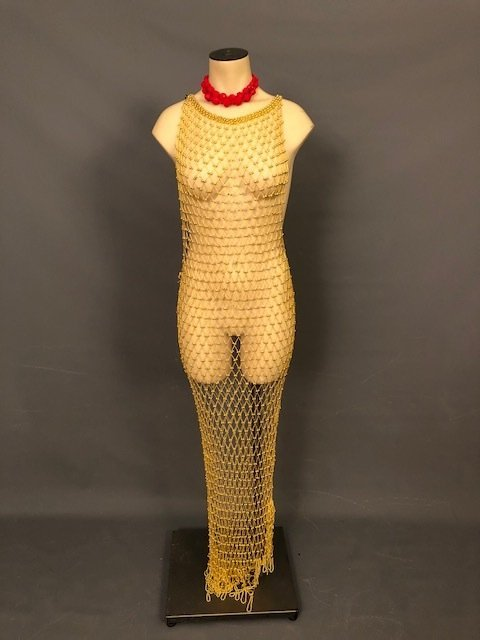 Rare vintage gold metal sequence dress