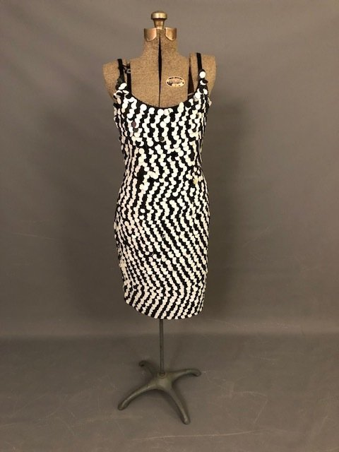Vintage Elegant Black & White Sequence Dress