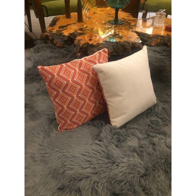 Handmade Geometric Orange Pillows - A Pair - 2
