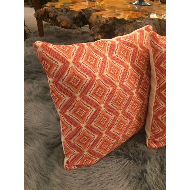 Handmade Geometric Orange Pillows - A Pair - 4