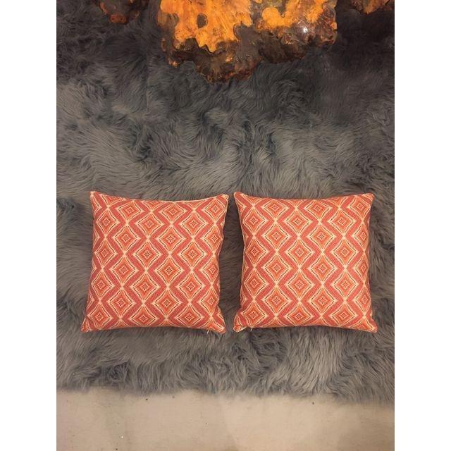 Handmade Geometric Orange Pillows - A Pair - 5