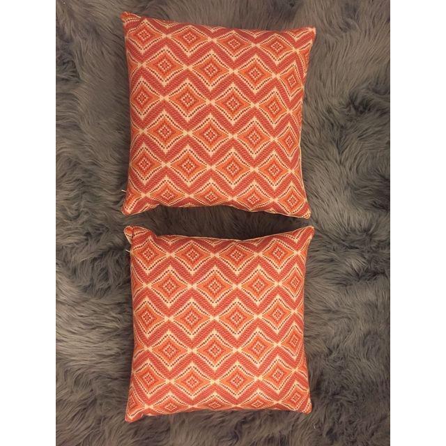 Handmade Geometric Orange Pillows - A Pair - 6