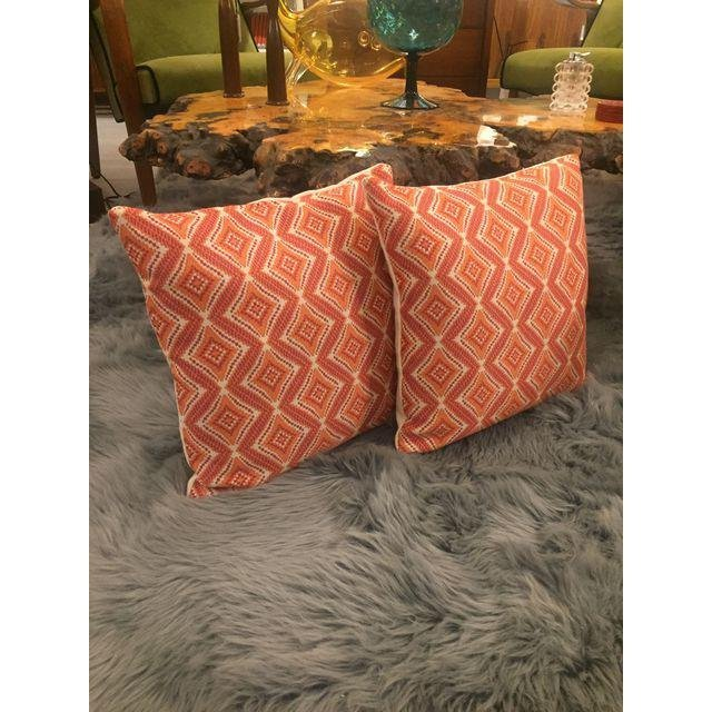 Handmade Geometric Orange Pillows - A Pair - 7