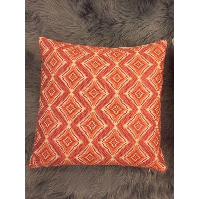 Handmade Geometric Orange Pillows - A Pair - 8