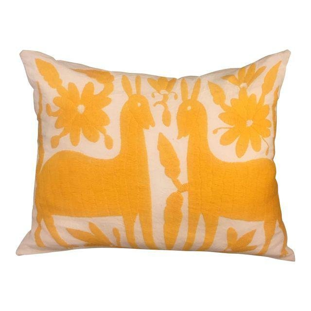 Yellow Mexican Otomi Embroidery Pillow