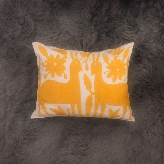 Yellow Mexican Otomi Embroidery Pillow - 2