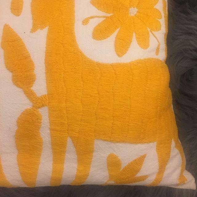 Yellow Mexican Otomi Embroidery Pillow - 3