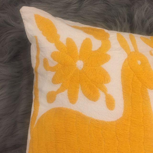Yellow Mexican Otomi Embroidery Pillow - 4