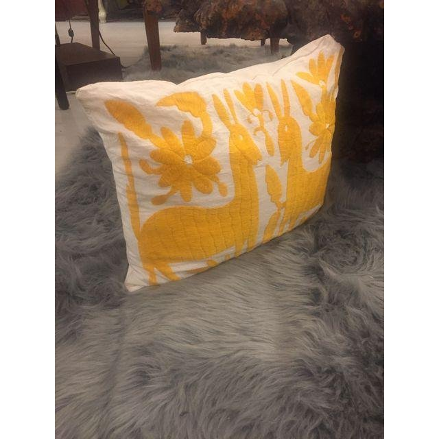 Yellow Mexican Otomi Embroidery Pillow - 6